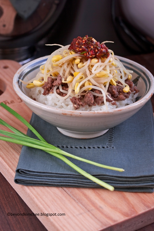 Bean Sprout Beef Rice Bowl recipe - seasoned ground beef, bean sprouts, rice, chive dressing. | rasamalaysia.com