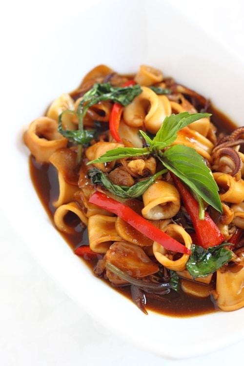 Three-Cup Squid - squid, ginger, garlic, sesame oil, soy sauce, rice wine, chili | rasamalaysia.com