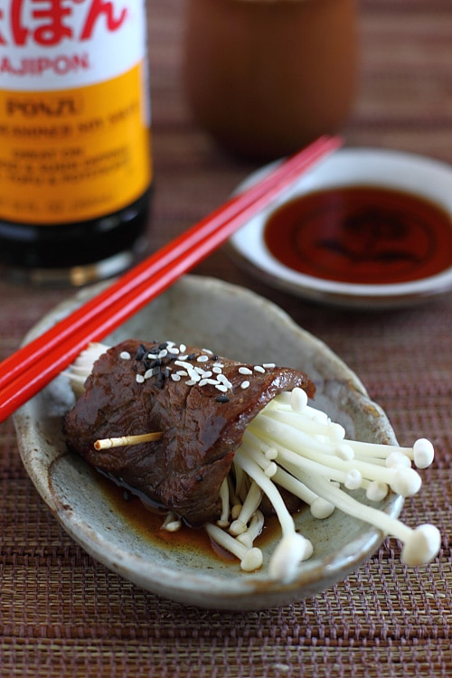 Easy Japanese beef rolls recipe with ponzu sauce. Made with Mizkan HONTERI Mirin and AJIPON Ponzu. | rasamalaysia.com