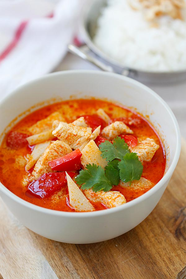 Delicious Thai chicken curry made with red curry paste in a bowl, ready to serve