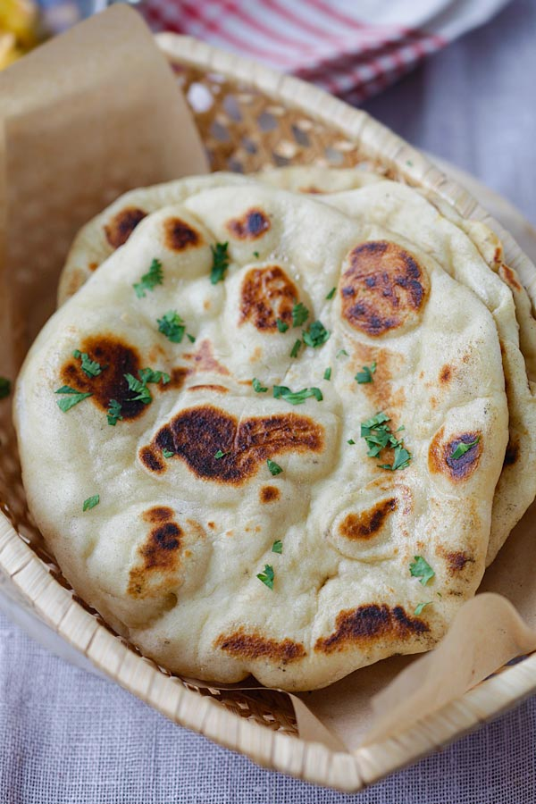 Naan bread with golden brown blisters on the surface | rasamalaysia.com