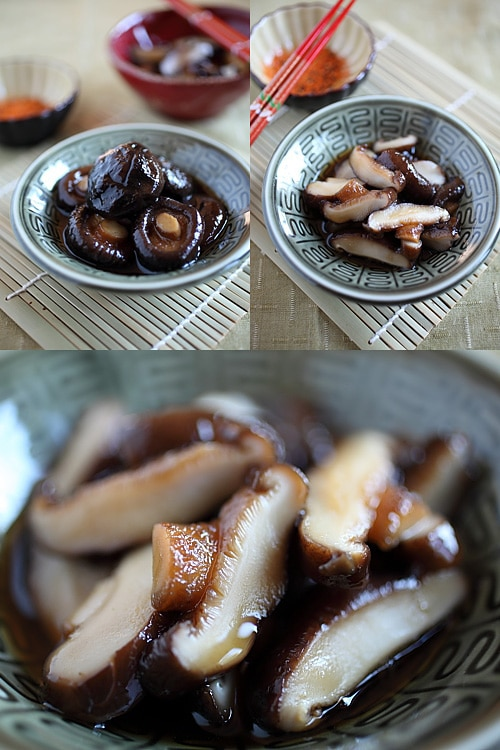 Braised Mushroom with Dashi recipe - I always make this Japanese-style braised mushrooms with dashi and mirin. The end result is a very simple side dish that is absolutely umamilicious. | rasamalaysia.com