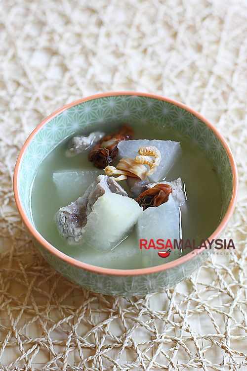 Winter Melon Soup recipe - a nourishing flavorful and cooling soup. | rasamalaysia.com
