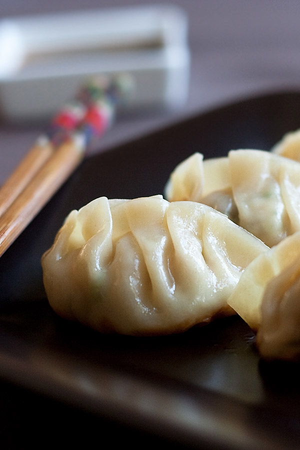 Homemade Japanese dumplings with Gyoza Sauce.