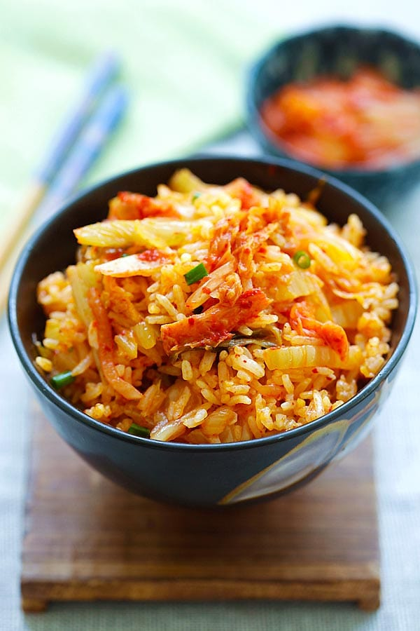 Kimchi fried rice recipe ready in 15 minutes rasa malaysia kimchi fried rice in bowl ccuart Image collections
