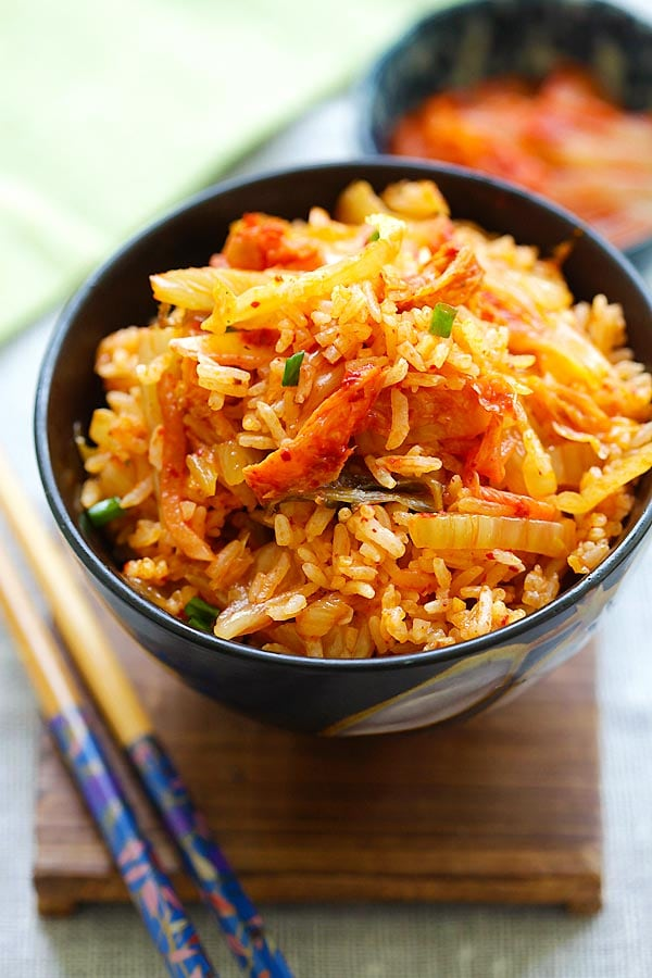 Easy and quick Homemade Kimchi Fried Rice recipe.