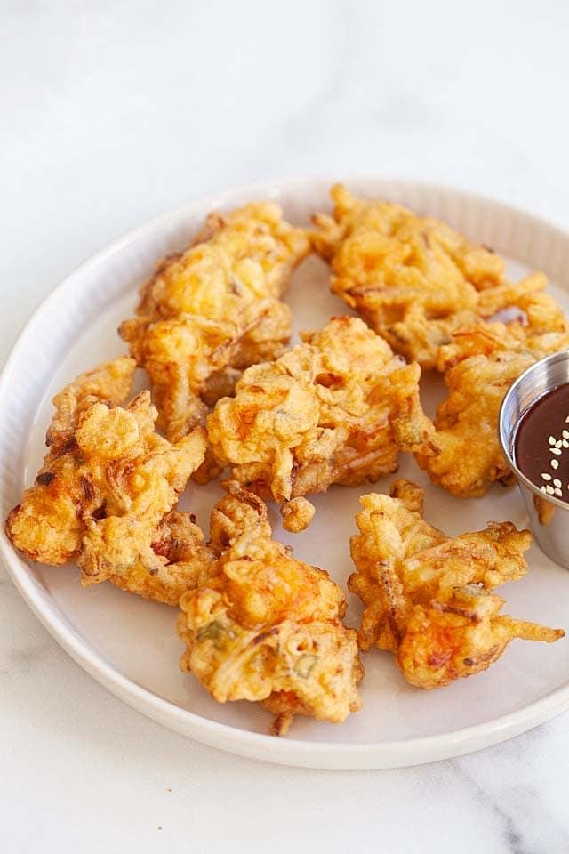 Crispy shrimp fritters.