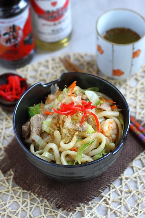 Udon noodles are popular Japanese noodles and widely eaten. You can use udon noodles to make yaki udon-fried udon noodles with veggies and meat. | rasamalaysia.com