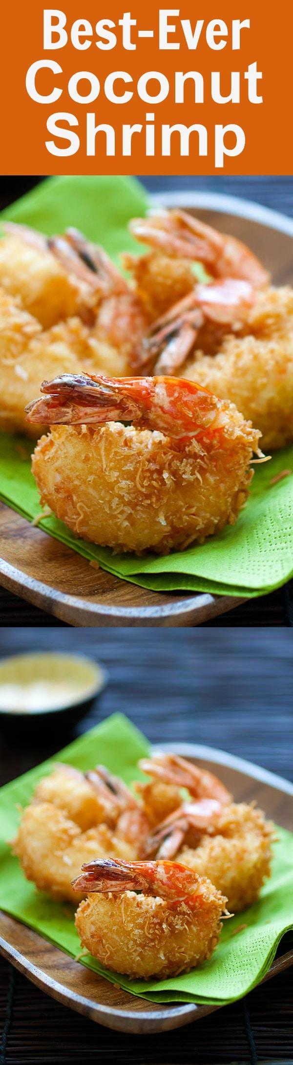 Coconut shrimp - the best and crispiest coconut shrimp recipe ever! Takes 20 mins, an easy and budget-friendly shrimp appetizer | rasamalaysia.com