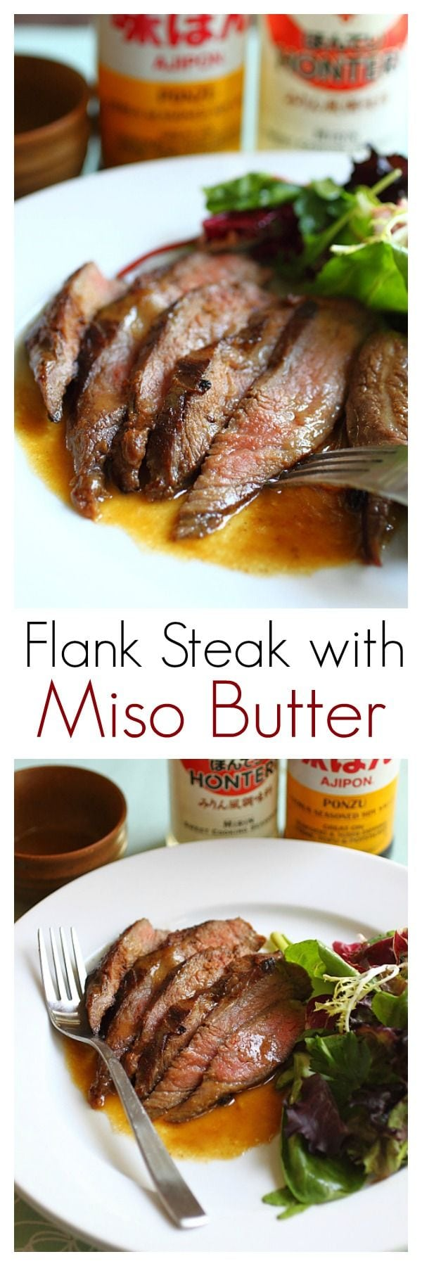 Grilling flank steak with marinade of ponzu, miso and butter. This flank steak recipe is easy and yields tender, juicy and flavorful steak | rasamalaysia.com