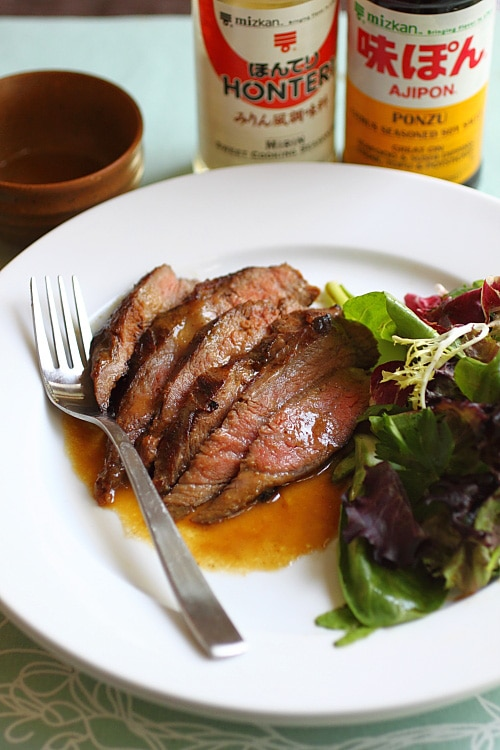 Flank steak recipe with flank steak marinade of miso, butter and ponzu.