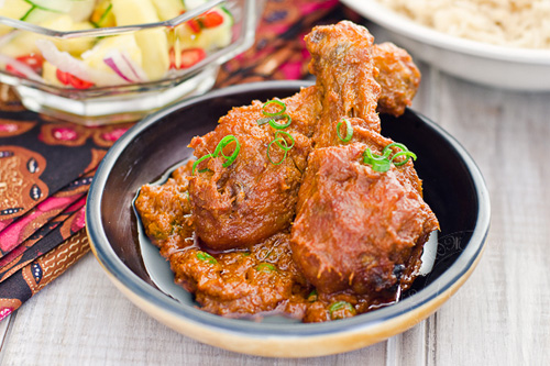 Ayam Masak Merah Recipe - This dish has unique flavours, although it shares some basic similar spices to Chicken Curry. It is distinctively different, be it in the texture of the chicken or the tantalizing flavours in the sauce. | rasamalaysia.com