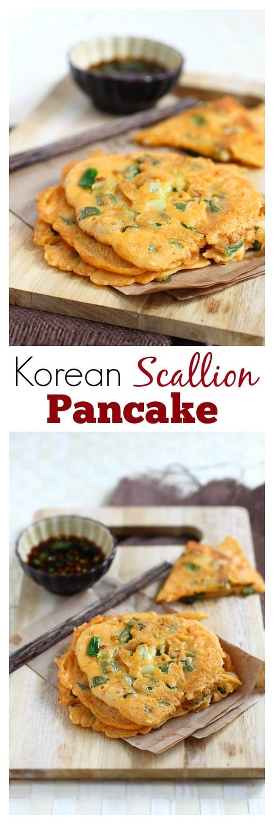 Korean Scallion Pancake (Pajeon) - savory pancake with scallion and kimchi, amazing appetizer that you can't stop eating   rasamalaysia.com
