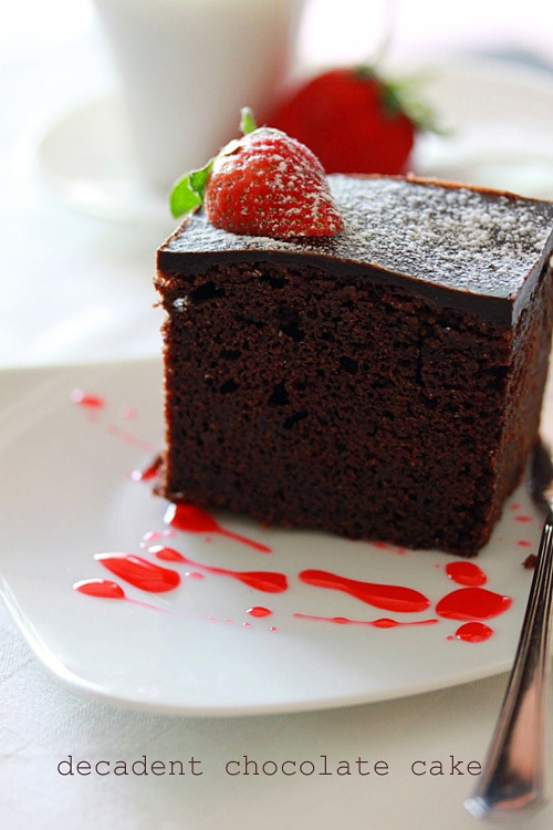 Basic chocolate cake made with easy ingredients.