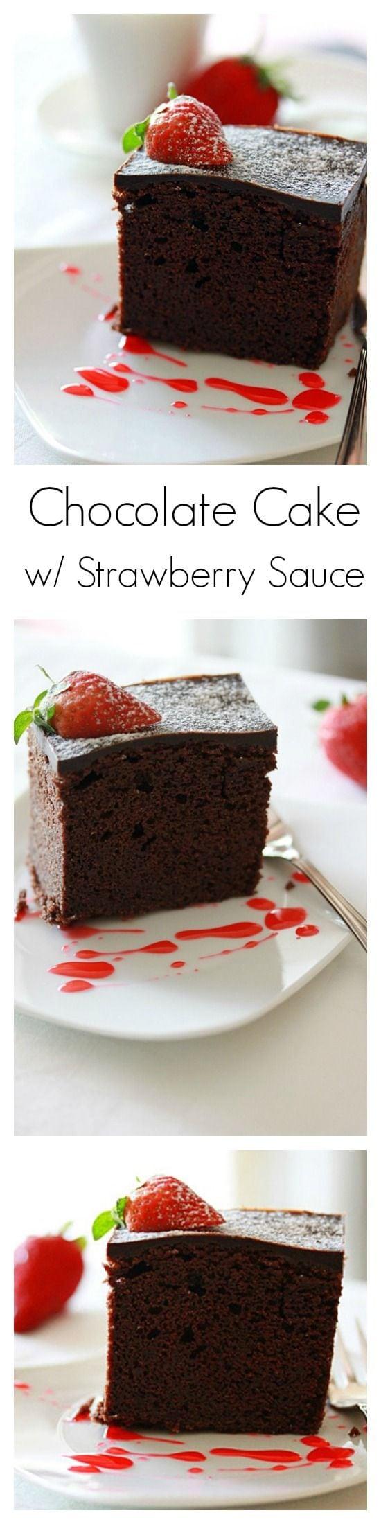 Chocolate cake and chocolate cake recipe. Easy chocolate cake recipe that calls for rich chocolate, butter, flour, and sugar to make chocolate cake. | rasamalaysia.com