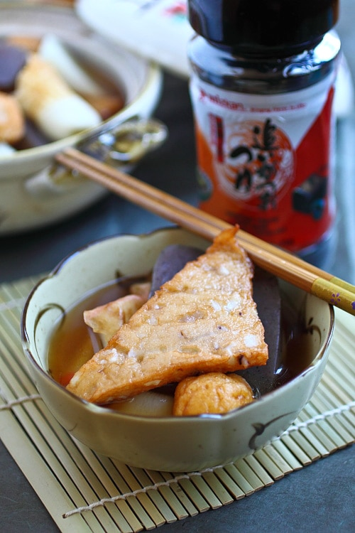 Oden is Japanese hot pot with fish balls/fish cakes. Oden is a popular winter dish. Easy oden recipe made with Mizkan (bonito flavored) soup base. | rasamalaysia.com