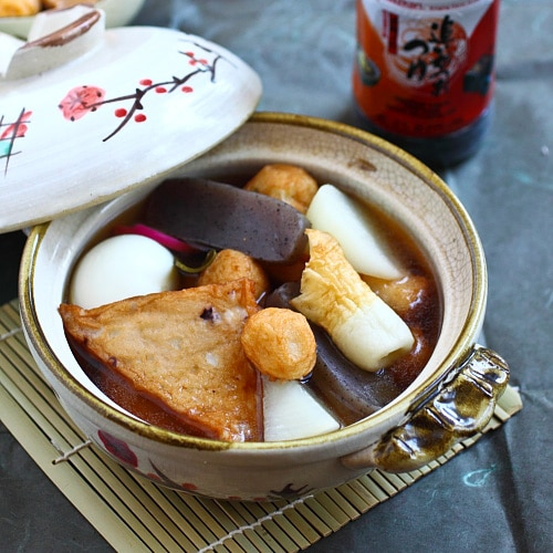 Oden is Japanese hot pot with fish balls/fish cakes. Oden is a popular winter dish. Easy oden recipe made with Mizkan (bonito flavored) soup base.   rasamalaysia.com