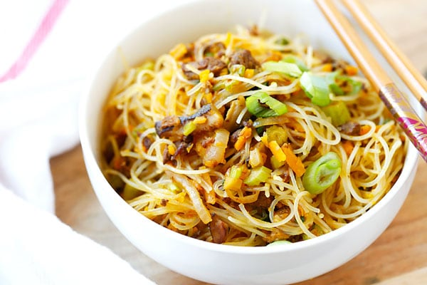 Pumpkin Rice Noodles - delicious rice noodles stir-fried with ground ...