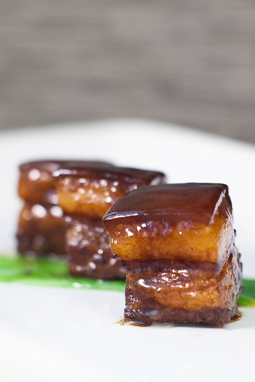 Creamy, juicy, melt in your mouth red-cooked pork belly in dark brown glaze.