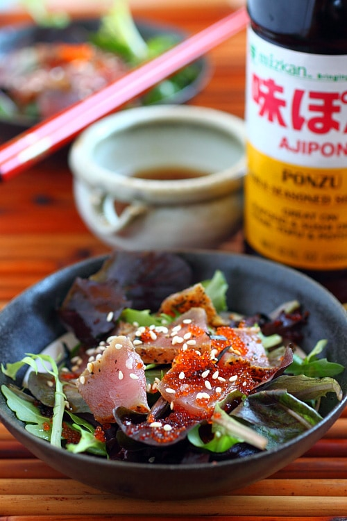 ... seared ahi tuna salad. Seared ahi tuna salad with Mizkan ponzu