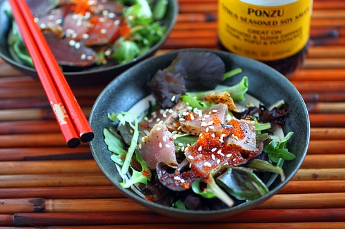 Learn how to make seared ahi tuna at home, and use it to make seared ahi tuna salad. Seared ahi tuna salad with Mizkan ponzu dressing.   rasamalaysia.com