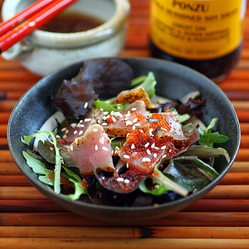 Seared Ahi Tuna Salad with Mizkan Ponzu