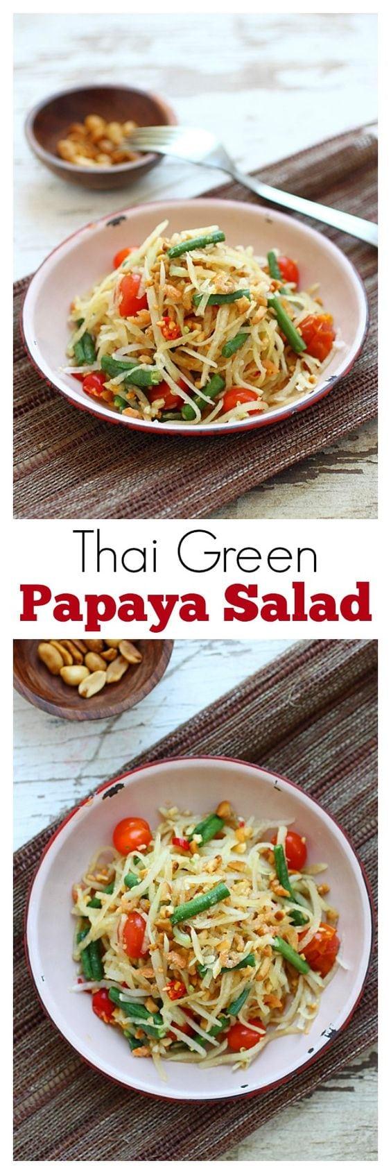 Thai green papaya salad – the best salad ever with shredded green papaya, long beans and tomatoes. So yummy | rasamalaysia.com