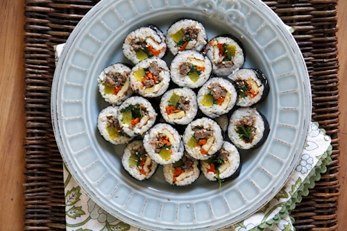 Top down view of Korean beef kimbap recipe, ready to serve.