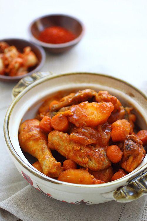 Korean Spicy Chicken Stew - potatoes, chicken, onion, baby carrots, scallions, soy sauce, chili paste.   rasamalaysia.com