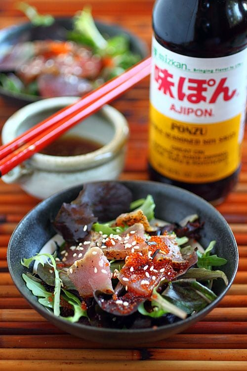 Learn how to make seared ahi tuna at home, and use it to make seared ahi tuna salad. Seared ahi tuna salad with Mizkan ponzu dressing. | rasamalaysia.com