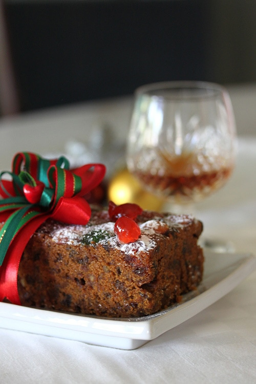 Easy and delicious moist festive fruit cake, ready to serve.