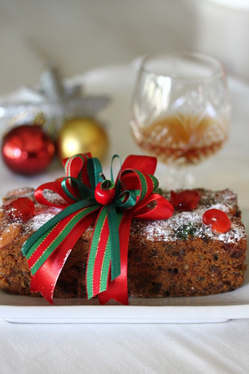 Moist Christmas festival fruity cake with Christmas decoration.