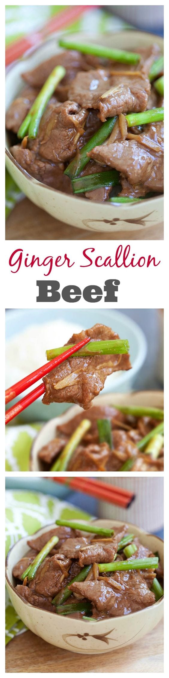 Ginger and Scallion Beef – Tender, juicy, and super delicious ginger and scallion beef recipe. Make ginger and scallion beef at home with simple ingredients and 15 minutes | rasamalaysia.com
