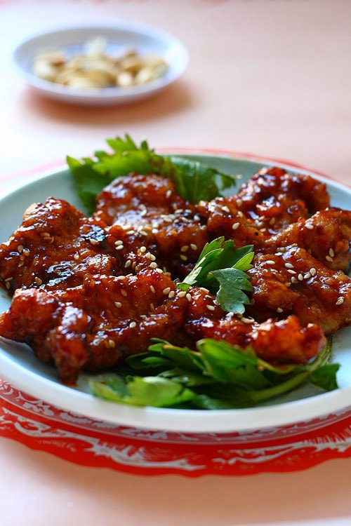 Easy and quick Chinese red Peking pork chop, ready to serve.