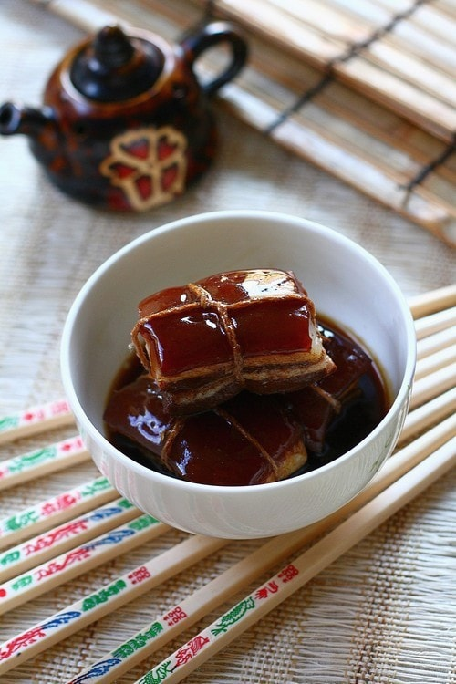 Easy homemade Chinese braised pork belly in brown thick gravy served in a bowl.