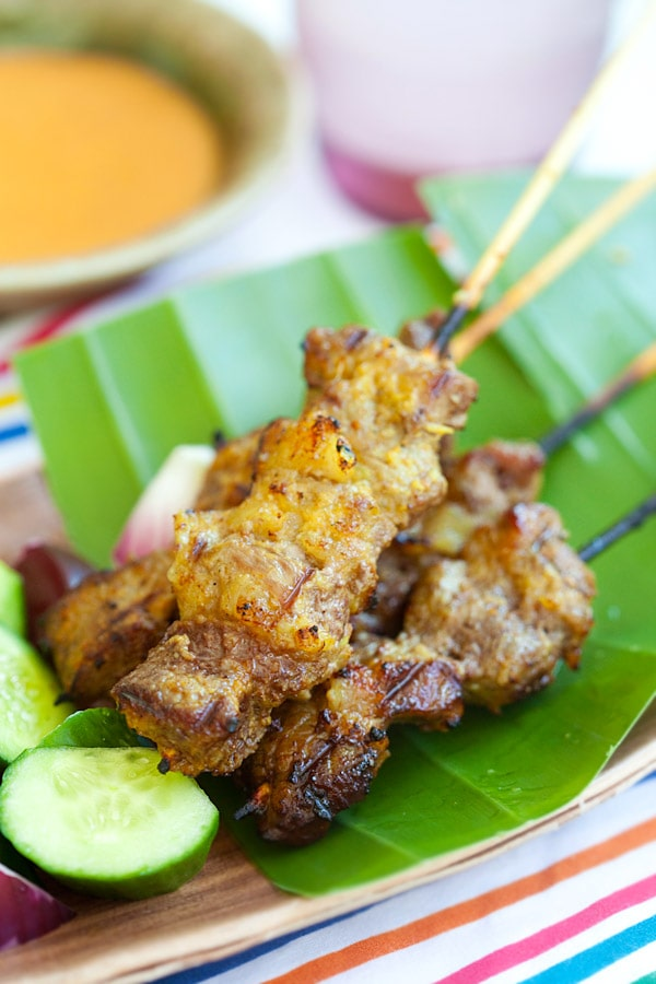 Easy homemade Malaysian beef satay skewers.