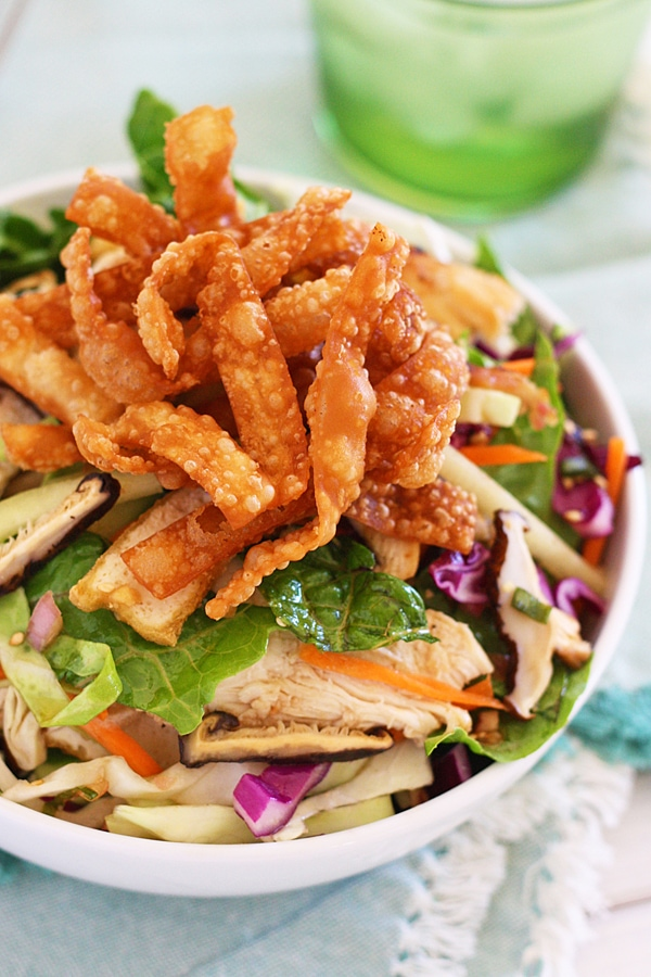 Homemade Chinese Chicken Salad in bowl