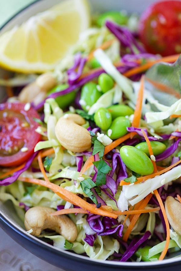 Asian Slaw With Homemade Dressing Recipe Rasa Malaysia