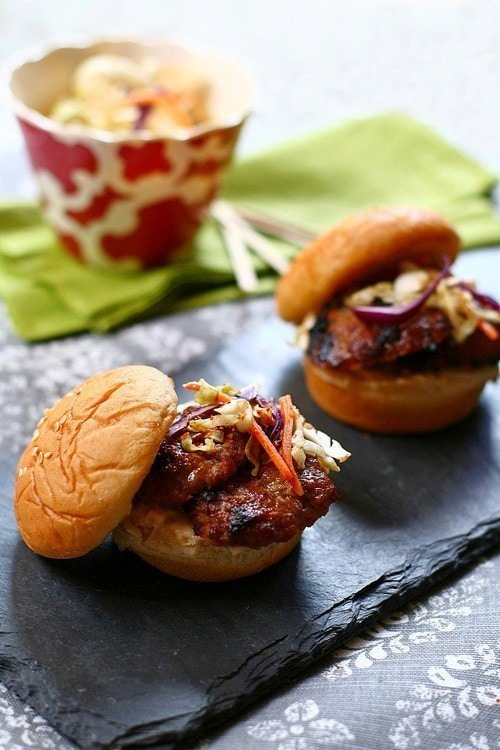 Easy Asian style five-spice marinated pork patty sliders.