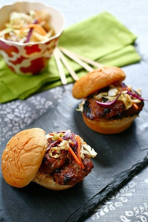 Easy and delicious Asian grilled five spices pork sliders with Asian slaw fillings.
