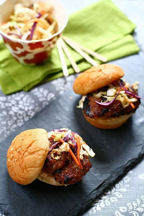 Easy and delicious homemade Asian five spices grilled pork sliders, ready to serve.