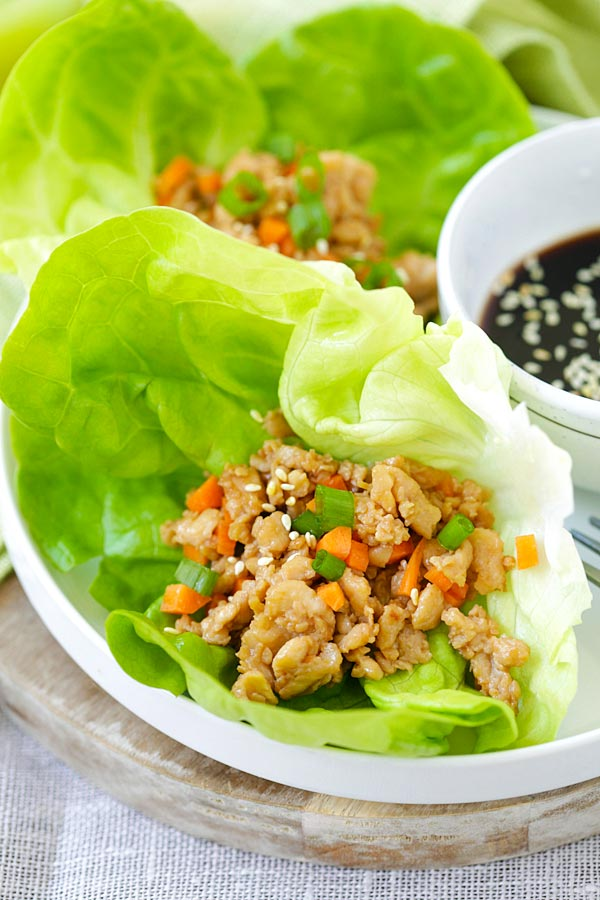 Super delicious lettuce wraps with minced chicken, inspired by PF Chang's, ready to be served.