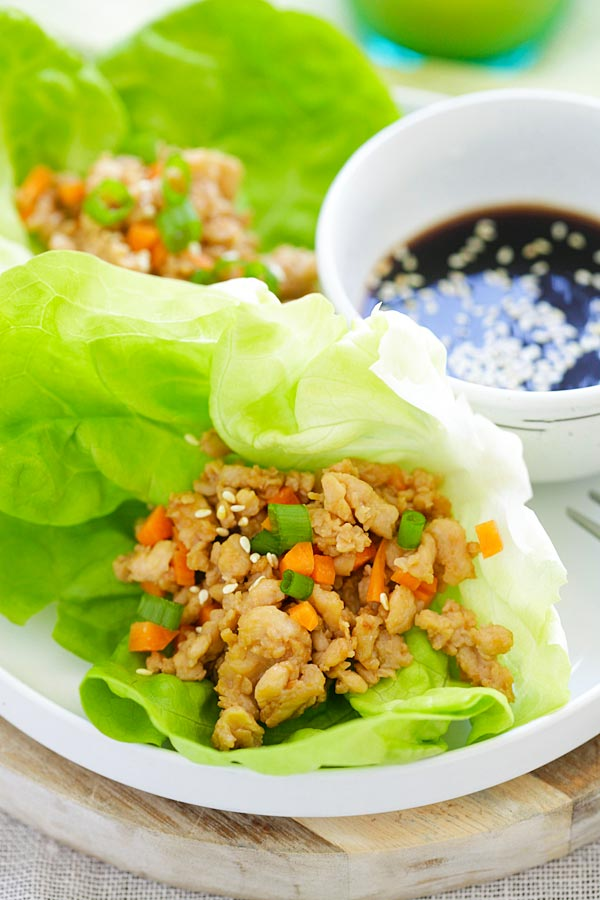 Chicken lettuce wraps complete with sauce pairing.