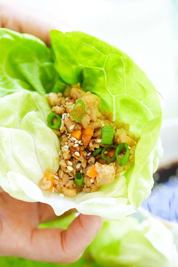Quick and easy chicken lettuce wraps.