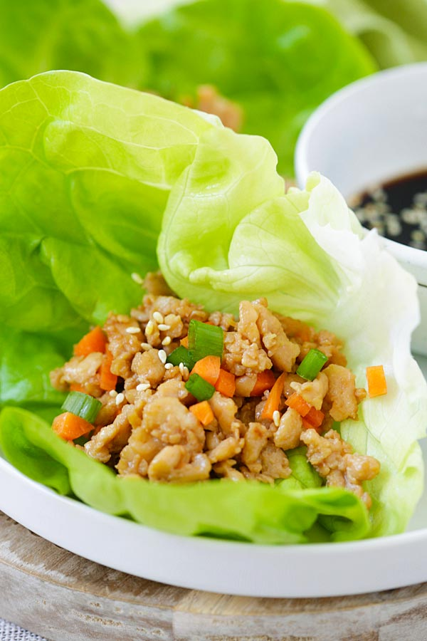 Ground chicken with fresh lettuce leaves for lettuce wraps.