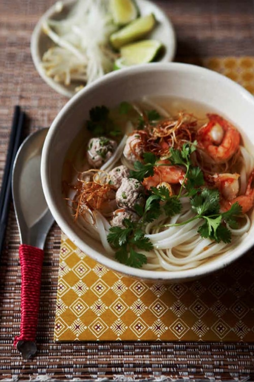 Easy and delicious Cambodian noodle soup recipe with a side of beansprouts.