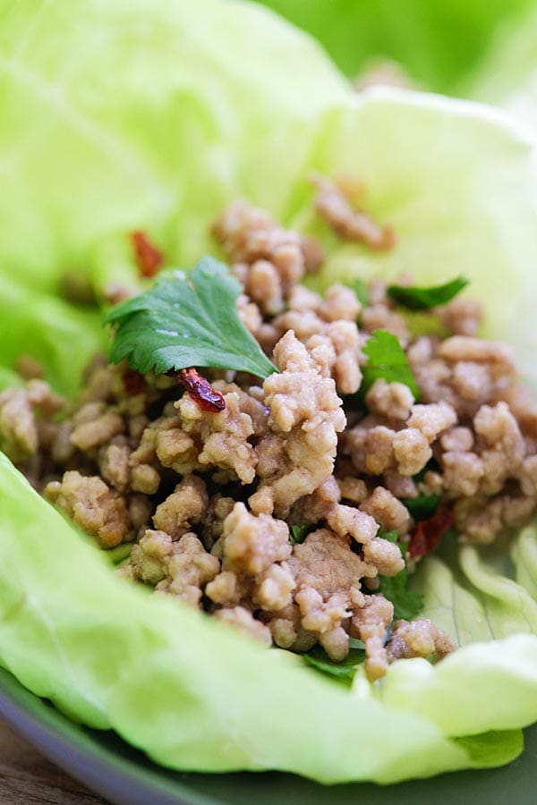 Pork Larb Lettuce Wrap - healthy and delicious Thai ground pork lettuce wraps with a savory, sweet and mildly spicy dipping sauce. So good | rasamalaysia.com