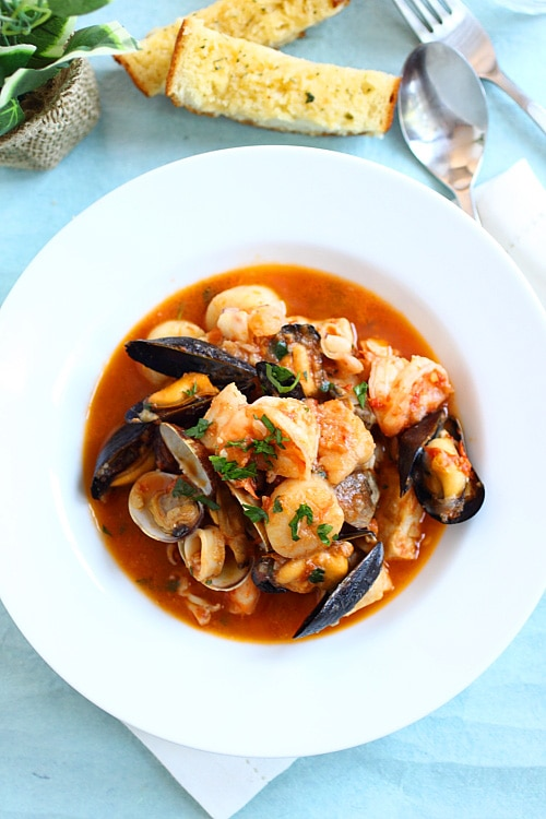 San Francisco Cioppino seafood stew with seafood, ready to serve.