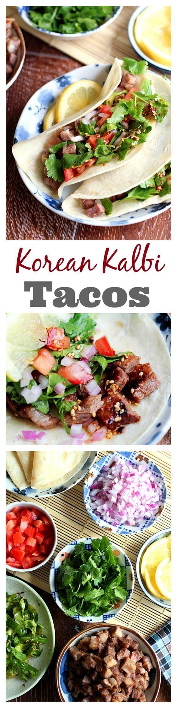 Korean kalbi (BBQ beef short rib) tacos. Amazing tacos with tender, juicy and the most delicious Korean kalbi | rasamalaysia.com