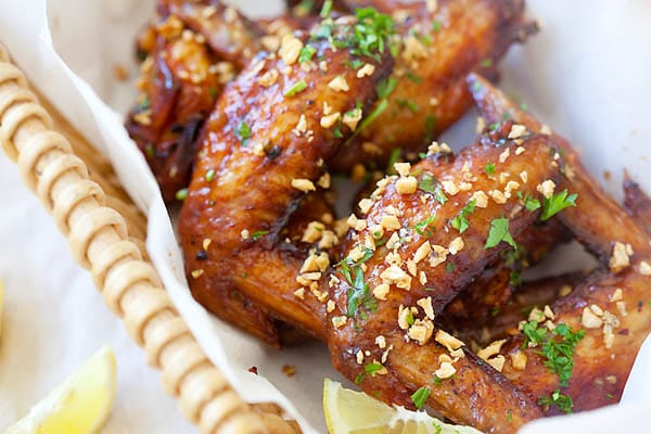 Easy and quick Vietnamese fish sauce chicken wings, served in a basket.
